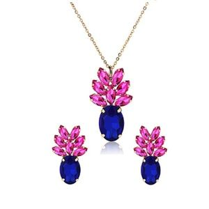 Crystal Pineapple Blue Pink Necklace Earring Sets